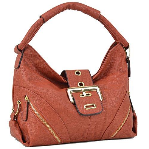 Buckle Hobo Handbag - Dasein Classic Large Buckle Hobo Shoulder Bag Handbag with Zipper Pockets (Brown)