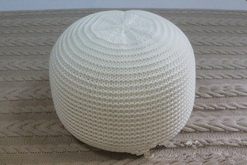 New Style Knitted Woolen Round Cushion POUF (White)