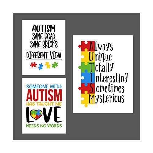 Simply Remarkable Set of 3 Autism Poster Prints Autism Awareness Home Decor Autistic Spectrum (8x10, Set of 3)