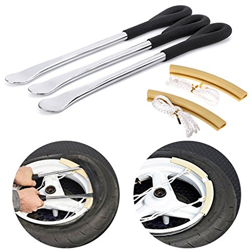 Sumnacon Tire Levers Spoon Set, Durable Heavy Duty Motorcycle Bike Car Tire Irons Tool Kit With Hanging Hole,3 Pcs Tire Changing Spoon + 2 Pcs Rim Protector by Sumnacon