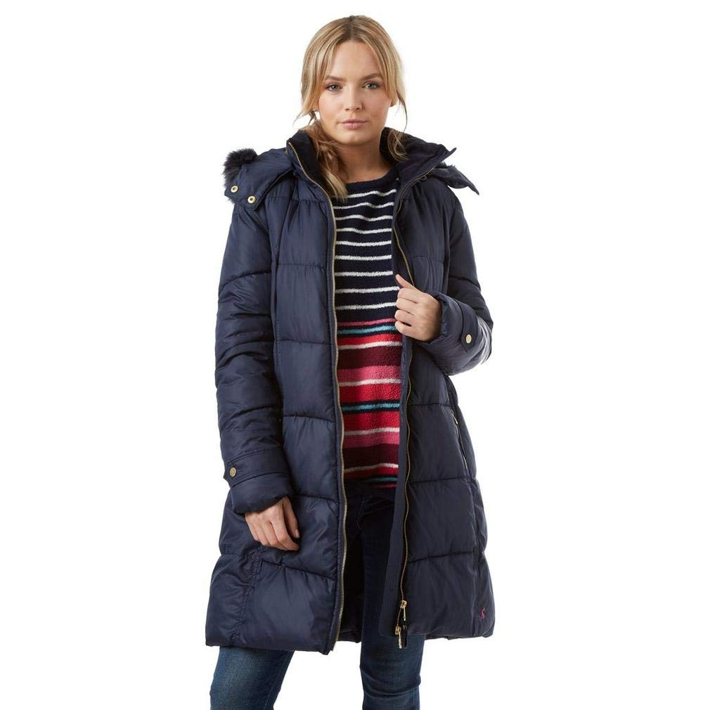 Joules Womens Snowbury Hooded Long Length Puffer Coat