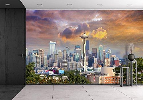 Seattle Washington Cityscape Skyline with Stormy Sky