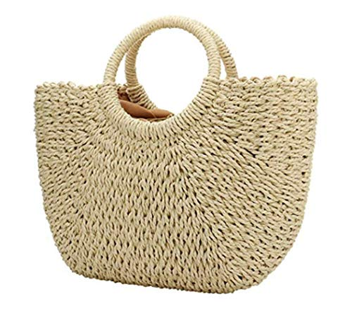 (Women Straw Bag Weave Handbags Handwoven Tote Summer Bag Beach Bag Natural Chic )