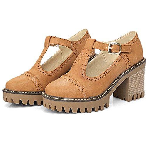 COOLCEPT Women Thick Heel Court Shoes Yellow WzRzbt