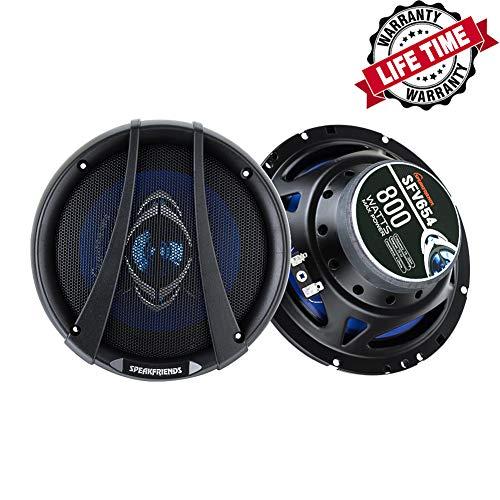 SPEAKFRIENDS SFV654 6.5-Inch 800 Watt Full-Range 4-Way Coaxial Audio Car Speakers (Pair)