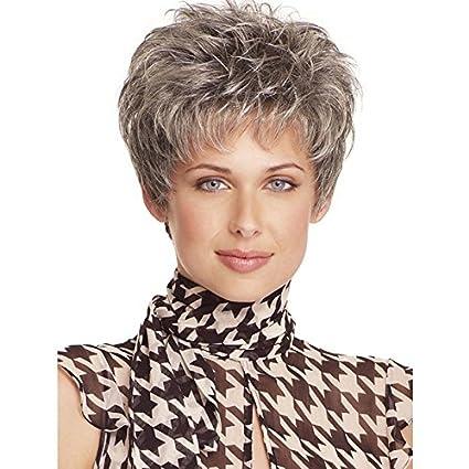 deyngs pelo corto gris peluca para las mujeres sintético fibra ...