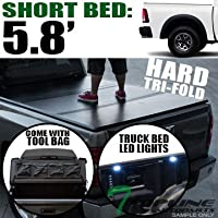 Topline Autopart Solid Hard Tri Fold Tonneau Cover With...