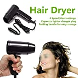 Acidea 12V Portable Car Folding Hair Dryer, Hot and Cold Fast Drying, Cigarette Lighter Plug Travel Car Heater Car Defroster Black