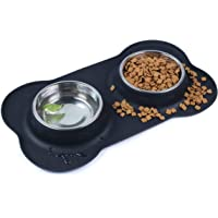 Double Dog Bowl, Stainless Steel Food and Water Bowl Pet Feeding Dish with Non Spill Silicone Mat for Puppy Dog Cat…