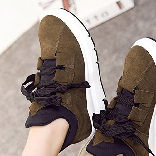 High Height Toe Increased Top GIY Khaki Shoes Wedge Hidden Bootie Sneakers Tennis Womens Round Heel Platform 0q8H8ESwx