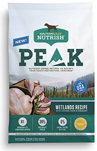 Rachael Ray Nutrish PEAK Natural Dry Dog Food, Grain Free, Wetlands Recipe with Chicken, Duck & Pheasant, 4 lbs
