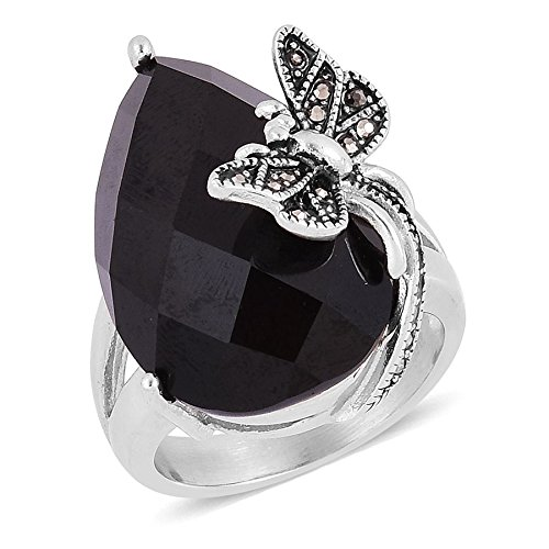 Hematite Stainless Steel Ring (Black Agate, Hematite Stainless Steel Ring Size 6)