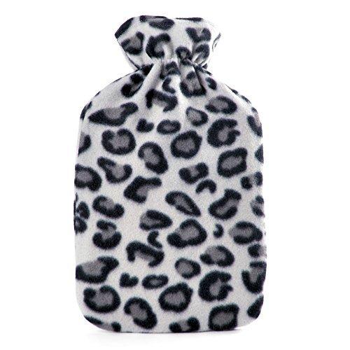Kids Quality Soft Leopard Print Fleece Covered Natural Rubber Hot Water Bottle by Socks Uwear