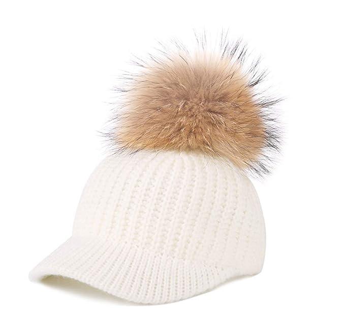 Mattelsen Gorro Invierno Mujer Calentar Sombreros Gorras de Aabrigo con Visera y Pompón (Blanco): Amazon.es: Ropa y accesorios