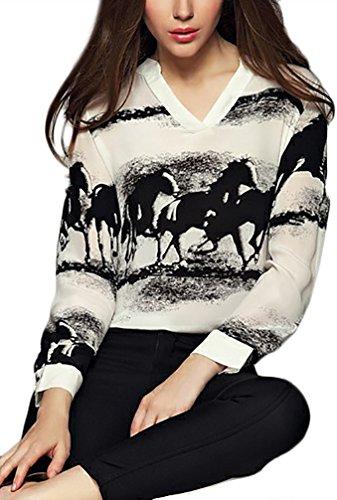 Camicia Donna Manica Lunga Elegante Moda Chiffon Top V Grazioso Moda Scollo Stampati Casual Sciolto Primavera Blusa Camicetta Shirt Stlie Nero