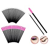 AOLANS 100PCS Disposable Mascara Brushes Eyeliner Brushes Makeup Tool Kits Black and pink(2 colors)