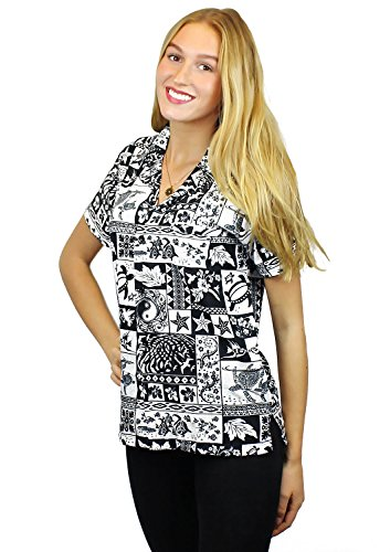 Original King Kameha   Funky Camisa Hawaiana Mujeres   XS-6XL   Manga Corta Bolsillo Delantero  impresión De Hawaii  Puzzle  diferentes colores negro