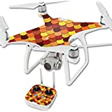 MightySkins Protective Vinyl Skin Decal for DJI Phantom 4 Quadcopter Drone wrap cover sticker skins Red Scales