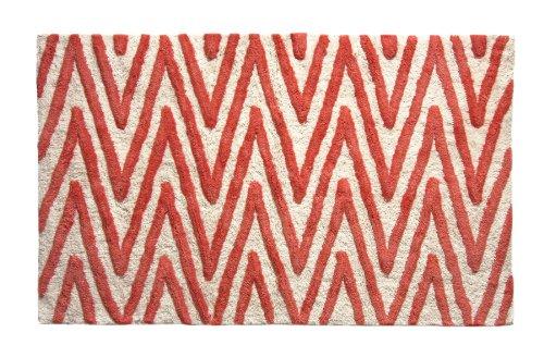 Bacova Guild Berros Cotton Fashion Bath Rug, 20 by 32-Inch, Chevron Stripe, White/Coral