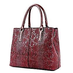 Newpu Leather Women Bag Ladies Luxury Snake Shoulder Bags Designer Handbags Spring Ladies Tote Bag Red 32cm