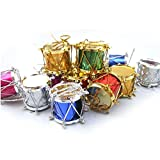 Hot Selling! TIFENNY Cute 6PC 5CM Christmas Mini Drums Decorations Party Charms Ornaments Decor (Multi, A)