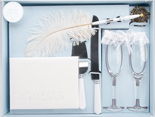 Darice VL2000, Bridal Gift Set, Pen Glass Garter Book Knife and Server, (Collection Server Set)