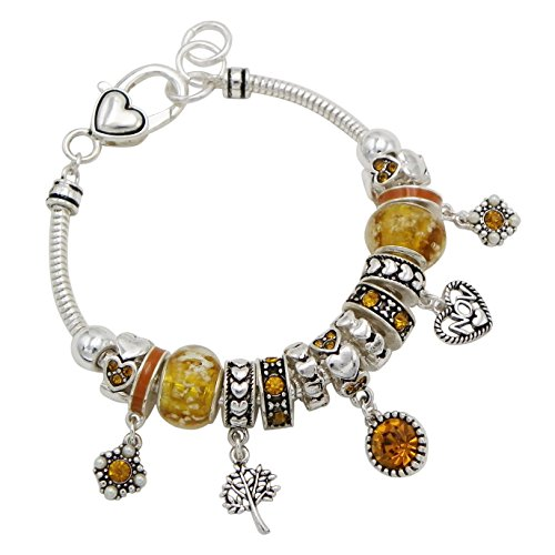 Rosemarie Collections Women's Birth Month Birthstone Glass Bead Charm Bracelet (November)
