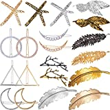 Jetec 20 Pieces Vintage Hair Clips Moon Triangle Circle Feather Hair Clips Metal Hair Barrettes Hair Pins for Women Girls, Gold and Silver