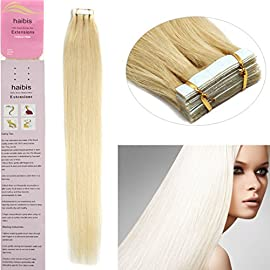haibis Hair Extensions Tape in Remy Human Hair 20pcs More Colors 16-24inch (16Inch 30g, 1B Black With Brown)