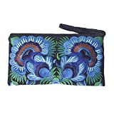 Sabai Jai - Floral Embroidered Boho Clutch - Handmade Ethnic Flower Wristlet Purse