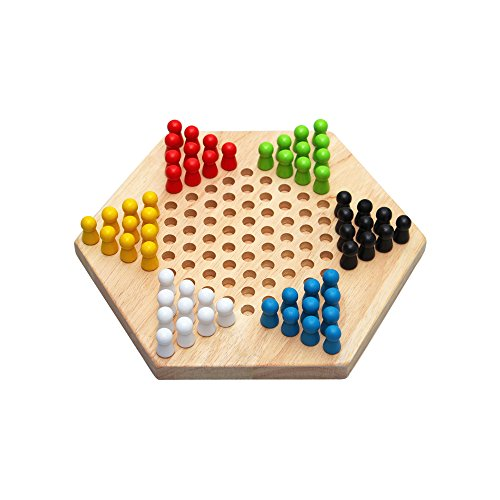 Traditional Checkerboard (Chinese Checkers Game Traditional Hexagon Wooden Checkers Board Game Family Game Set)