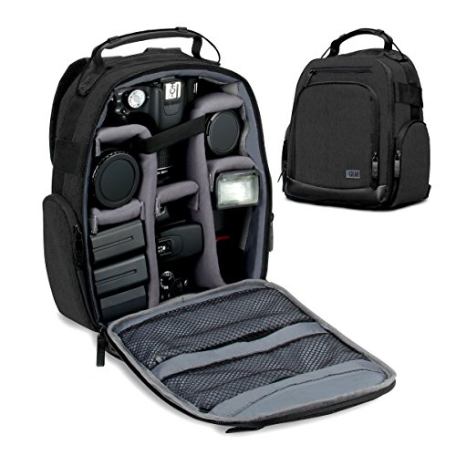 USA GEAR Portable Camera Backpack for DSLR/SLR (Black) w/Customizable Accessory Dividers, Weather Resistant Bottom, Comfortable Back Support - Compatible w/Canon EOS T5/T6 - Nikon D3300/D3400 & More