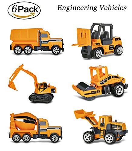 6 PCS Construction Toy Set,Different Types of Engineering Model Cars,including Excavator, Bulldozer,Roller,Fork Truck,Tanker and Dump Truck,Best Gift for Boys and Girls(construnction model (Dump Car Type)