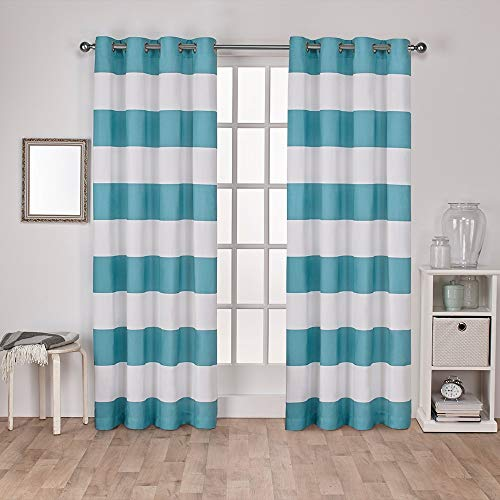 - Exclusive Home Curtains Surfside Cabana Stripe Cotton Window Curtain Panel Pair with Grommet Top, 54x108, Teal, 2 Piece
