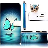 Vandot Samsung Galaxy S6 SM-G920F Case,3in1 Set Colorful Printing Painting PU Leather Magnetic Closure Flip Stand Book Stlyle Wallet Case[Credit Card Holder][Perfect Fit] Protective Skin Cover+Bling Owl Anti Dust Plug+Stylus Pen-Blue Star Sky Sea Butterfly