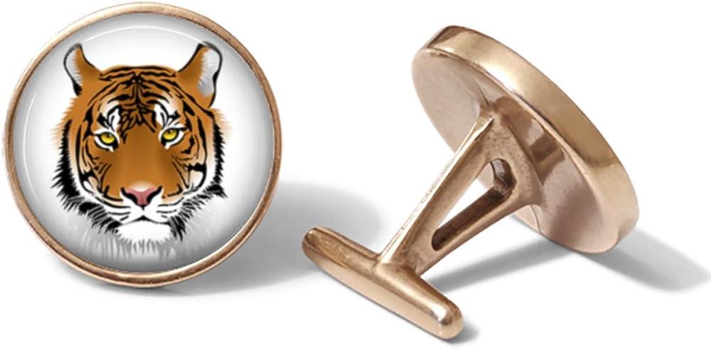 Solid Bronze Tiger Cufflinks Cuff Links
