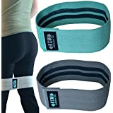 Hip Resistance Bands 80DO Set of 2 with Anti-Sweat Carry Bag for Booty Bands. Anti-Slip and Anti-Roll Technology. Cloth Resistance Bands Hip For at Home with Cotton Bands/ Hip Band / Resistance