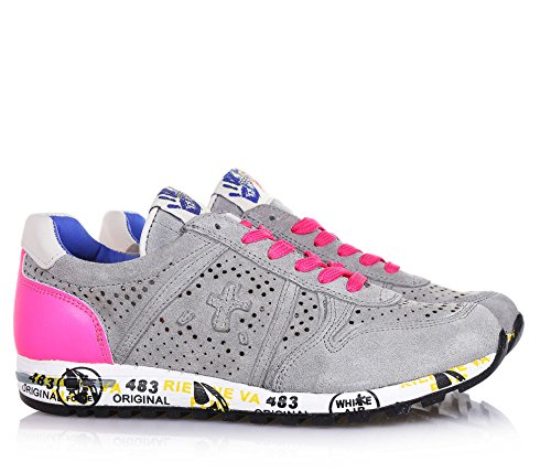 PREMIATA - Grauer Schuh mit Schnürsenkeln, aus Wildleder, durchgebohrt, auf der Zunge ein Logo, Mädchen, Damen