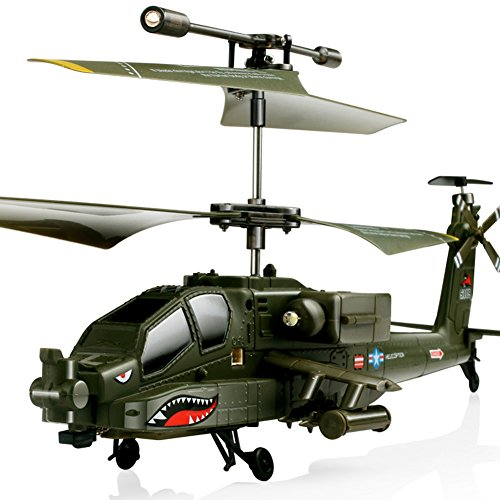 Qiyun Helicopter Mini Remote-controlled Simulation AH-64 Aircraft 3 Channels Military Model Helicopter Uav Children Toy Christmas Gift