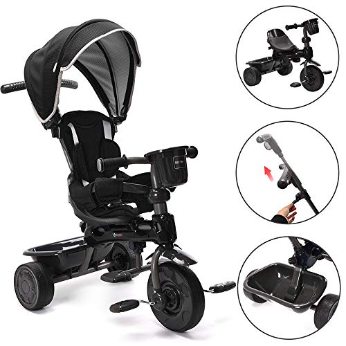ChromeWheels 4-in-1 Kids' Trike & Stroller, Adjustable Height Push Ride Tricycle for 9 Months - 5 Year Old, Black ()
