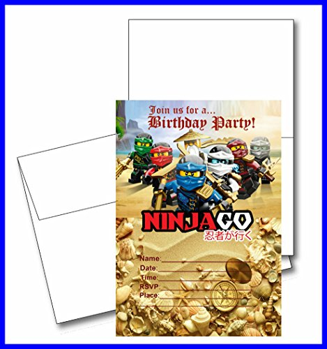 Crafting Mania LLC.. 12 NINJAGO Birthday Invitation Cards (12 White Envelops Included) #1