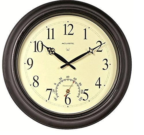 Atomic Outdoor Clock Wall - 18-Inch Weather-Resistant Metal Antiqued Black Finish Metal Housing And Glass Lens Outdoor Atomic Wall Clock