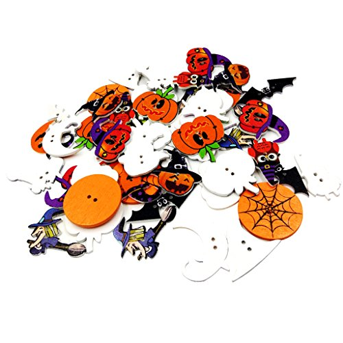 MagiDeal 50 Pieces Assorted Wood Halloween Buttons 2 Hole Buttons for Sewing Scrapbooking]()