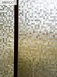Rabbitgoo 3D No Glue Static Privacy Window Film Decorative Glass Mosaic Film 35.4in. By 78.7in. (90cm By 200cm)