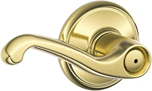 Schlage F40VFLA605 PB Flair Privacy Lever, Bright Brass
