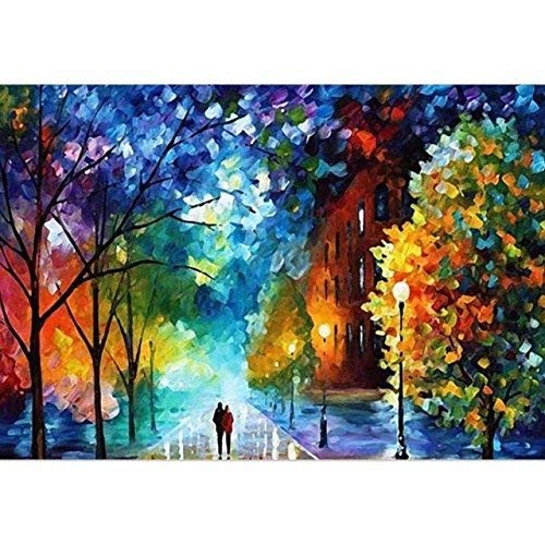 Easy DIY Paint by Number Sets with Brushes & Paints on Canvas Nature Landscape Paintworks Unique Christmas Gifts for Adults Beginners Romantic Street Lovers Walks In the Street 16x20 Inch Frameless