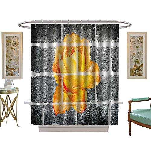 Leigh R. Avans Shower Curtains Waterproof Trippy Modern Graffiti with Rose Petals Brick Wall Urban City Life Fabric Bathroom Decor Set with Hooks (Silk Leigh Tie)