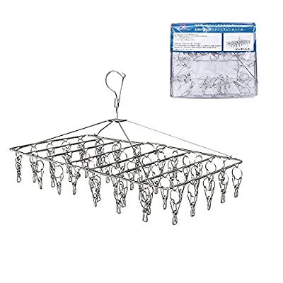Rosefray Drying Rack with 52 Clips, Folding Stainless Steel Clothes Drying Rack, Sock Drying Hanger, Baby Hangers - Durable Stainless Steel: It is a strong and high quality all-stainless steel laundry hanger. There is no discoloration by sunshine, it is strong against rust and you can use it anytime and cleanly. Compared with plastic, it lasts longer. 360 Degree Rotation: Because a convenient rotating neck was designed, the hanger can rotate 360° and it is easy to dry laundry from all directions. The orientation of the hanger can be changed freely, pinches are alternately arranged, and breathability is very good. Collapsible: When not in use, it is a folding type convenient for storage. It is foldable and compact, saves space and is practical high laundry hanger. - laundry-room, entryway-laundry-room, drying-racks - 51LA6JO owL. SS400  -