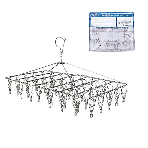 Rosefray Drying Rack with 52 Clips, Folding Stainless Steel Clothes Drying Rack, Sock Drying Hanger, Baby Hangers