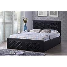 Hodedah HI820 FULL BLACK Leather Bed, Full, Black